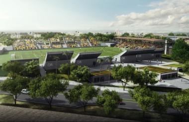 Render del diseño del estadio, visto desde la perspectiva de la gradería de arquitectura patrimonial.