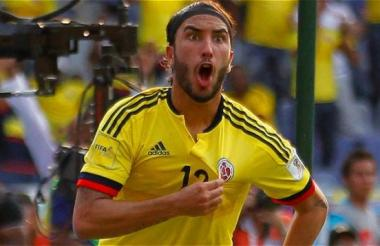 Sebastián Pérez durante un partido de la Selección Colombia.