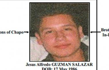 Parte del cartel emitido por el Departamento del Tesoro de Estados Unidos con la imagen del hijo secuestrado del narcotraficante mexicano.