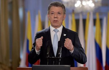 El presidente Juan Manuel Santos durante su alocución este miércoles.