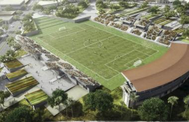 'Render' del estadio de fútbol Romelio Martínez.
