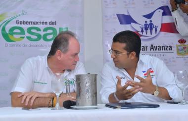 El gobernador del Cesar, Francisco Ovalle,  y el alcalde de Valledupar, Augusto Ramírez