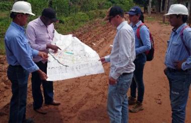 Equipo técnico del Minminas en su visita a Bolívar.