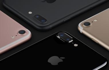Las cuatro versiones de color del nuevo iPhone 7.