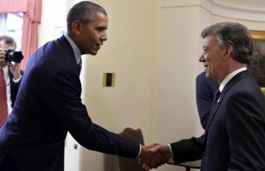 Los presidentes de Estados Unidos y Colombia, Barack Obama y Juan Manuel Santos.