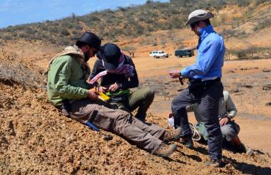 Expertos durante las campañas de campo en el departamento La Guajira.