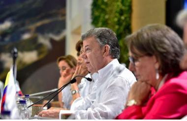 El presidente Juan Manuel Santos interviene en la instalación de la Cumbre Iberoamericana en Cartagena.