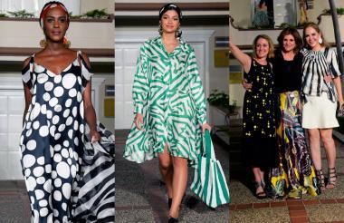La modelo y presentadora Claudia Lozano (izquierda) abrió la pasarela, en la que también participó la señorita Atlántico, Martha 'Tica' Martínez (derecha). La artista salvadoreña Katia Miranda, la diseñadora Francesca Miranda y Liliana Borrero, primera dama del Atlántico.