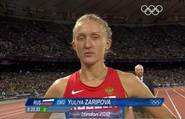 Yuliya Zaripova durante su participación en los 3.000 metros en Londres 2012.