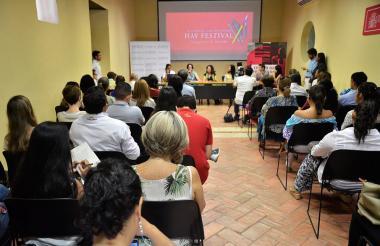 Rueda de prensa en Centro de Formación de la Cooperación Española, Cartagena.