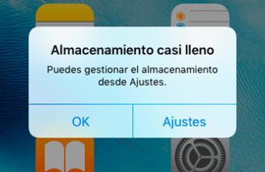 Mensaje que sale cuando tienes el almacenamiento lleno de tu iPhone.
