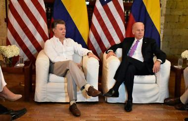 El encuentro entre el presidente Juan Manuel Santos y el vicepresidente de EEUU Joe Biden.