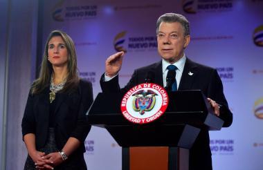 Presidente Juan Manuel Santos durante la alocución.