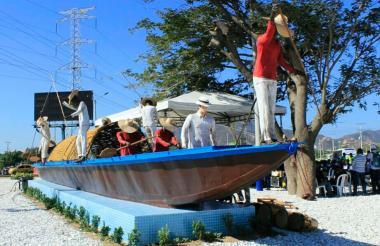 Homenaje a la piragua en Santa Marta.
