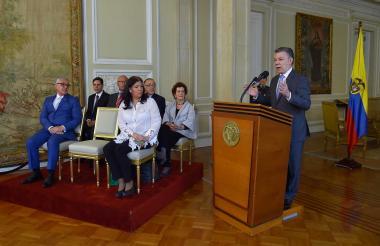 Presidente Juan Manuel Santos durante la instalación de la Misión Especial Electoral.