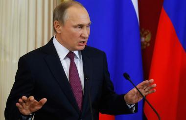 El presidente ruso Vladimir Putin durante la rueda de prensa de ayer, en Moscú.