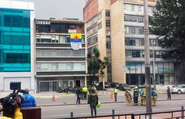 Sitio donde estalló la bomba panfletaria este miércoles en Bogotá.