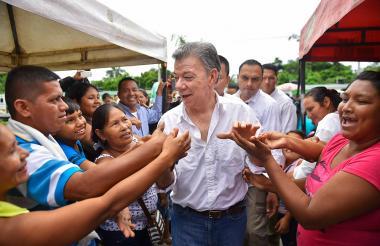El presidente Santos durante un acto en Leticia.