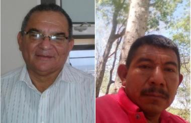 Felipe Rodríguez (i), presidente del Comité Cívico y Benjamín Machado (d), líder wayuu de la Alta Guajira.