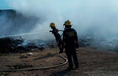 Bomberos apagan un incendio forestal.
