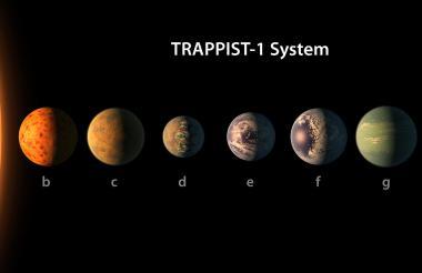 Fotografía facilitada por el Observatorio Europeo Austral (ESO) que muestra una impresión artística de la superficie de uno de los planetas del sistema Trappistt-1-