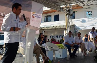 El vicepresidente Germán Vargas Lleras, durante su visita en Montería, en horas de la tarde.