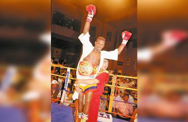 El pegador antioqueño Irene 'Mambaco' Pacheco el día que fue campeón mundial.