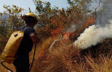 Un bombero apaga el brote de un incendio.