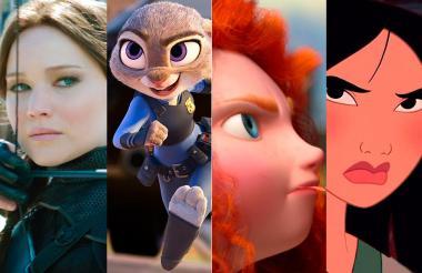 De izquierda a derecha, las protagonistas de 'Los juegos del hambre', 'Zootopia', 'Valiente' y 'Mulán'.