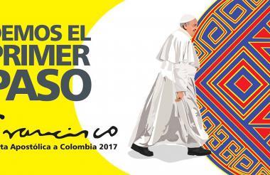 Afiche oficial de la visita que el papa Francisco hará a Colombia del 6 al 10 de septiembre próximos.