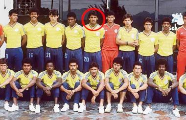 John Jiménez Guzmán (círculo), en su paso por la Selección Colombia.
