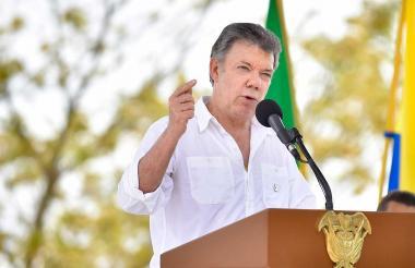 El presidente Juan Manuel Santos durante su intervención este lunes en Sucre.