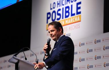 Germán Vargas Lleras durante el acto de rendición de cuentas de su gestión como vicepresidente.