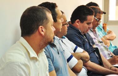 Los seis capturados, este jueves, en la audiencia en la que se definieron las medidas.