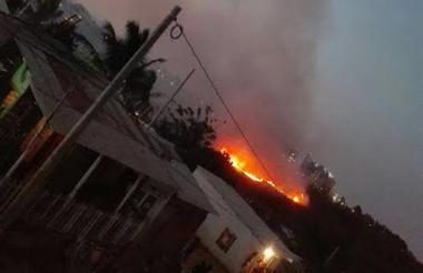 Aspectos del incendio en el corregimiento Pasacaballo.