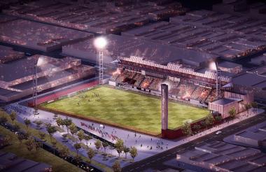 """Rénder del nuevo estadio Moderno """"Julio Torres"""" que tendrá sistema de iluminación deportiva  y césped sintético de última tecnología."""