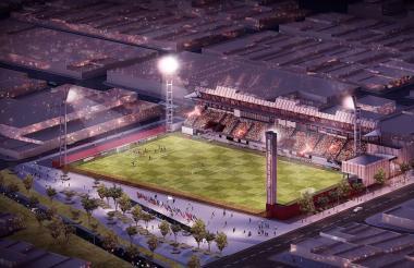 """Rénder del nuevo estadio Moderno """"Julio Torres"""" que tendrá césped sintético de última tecnología."""