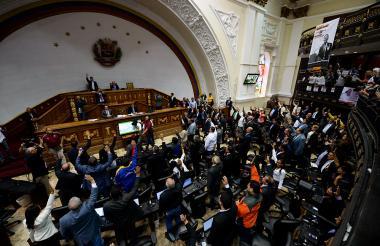 Sesión de la Asamblea de Venezuela, ayer en Caracas.