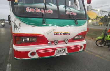 Bus involucrado en el accidente de tránsito.
