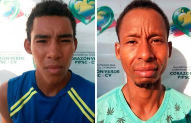 Jaider José López Flórez y Jair Alberto Salgado Durán, alias 'Cartagena', capturados.