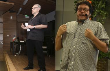 Daniel Mordzinski y Santiago Gamboa durante sus intervenciones en la Cátedra Europa.