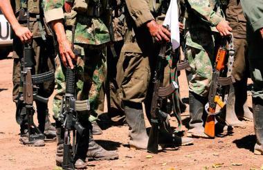 Grupo guerrillero de las Farc durante formación en un campo.