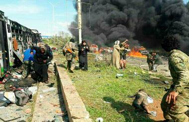 Momentos dramáticos se vivieron tras el atentado contra buses que transportaban refugiados.