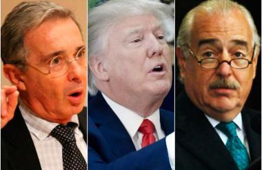El expresidente Uribe, el presidente de EEUU Donald Trump y el exmandatario Pastrana.