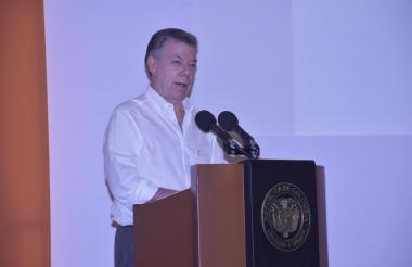 El presidente Juan Manuel Santos este viernes en Cartagena.