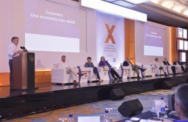 Juan Manuel Santos durante su intervención en el X Congreso de Asofondos FIAP, en Cartagena.