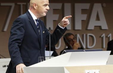 El Presidente de la Fifa, Gianni Infantino, durante su intervencción en el Congreso de Baréin.
