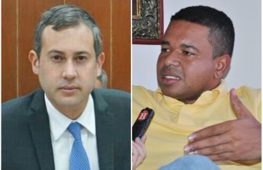 El senador sucreño por el Partido Liberal Mario Fernández Alcocer (i) y el excongresista Yahir Acuña Cardales (d).
