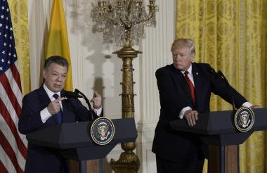 Juan Manuel Santos y Donald Trump durante la visita del mandatario colombiano a la Casa Blanca.