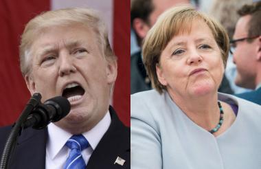 Donal Trump y Ángela Merkel.